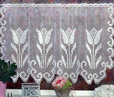 Häkeln & Filethäkeln Gardine Tulpe /  crochet curtain tulip
