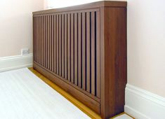 radiator cover in walnut Modern Radiator Cover, Radiator Screen, Home Radiators, Bed Design, House Design, Under Bed Drawers, Living Spaces, Living Room, Home Projects