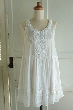 boiled gauze dress with embroidery