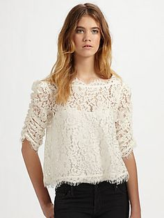 Joie Fanny Cropped and Scalloped Lace Top