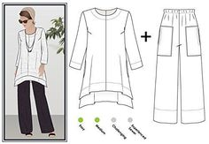 DIY Womens Clothing : Style Arc Sewing Pattern Daisy Designer Pant and Tunic Outfit (SizesNew Look 6095 Size A Misses Dresses and Bags Easy Sewing Pattern, Multi-ColourShare Your Best Sewing Patterns, Tips, Techniques and Ideas. Tunic Sewing Patterns, Clothing Patterns, Pattern Sewing, Tunic Pattern, Top Pattern, Pants Pattern Free, Free Pattern, Crochet Pattern, Crochet Top