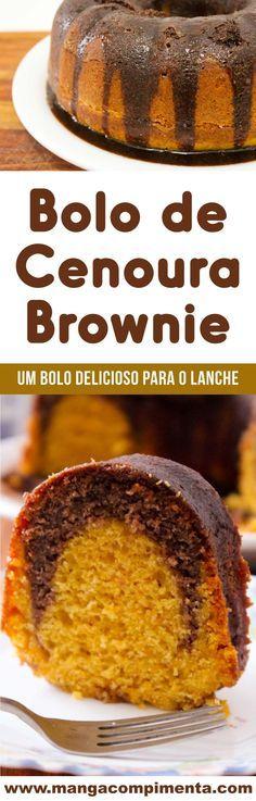 Receita de Bolo de Cenoura e Brownie de Chocolate – uma delícia para o café da manhã ou lanche. #receita #bolodecenoura #bolo #chocolate