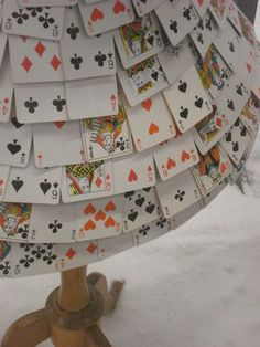 lampshade cute idea for a game room! I want to do this with the other side of red white Bicycle deck showing! Game Room Kids, Game Room Basement, Kids Room, Game Rooms, Game Room Decor, Room Setup, Basement Inspiration, Room Inspiration, Playing Card Crafts