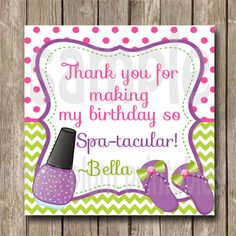 Personalized  Spa Party Favor Tag Birthday by PurplePlumPrintables