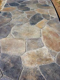 front walkway - All For Garden Flagstone Walkway, Outdoor Walkway, Backyard Patio, Walkways, Driveways, Slate Patio, Concrete Patio, Stamped Concrete Driveway, Rustic Landscaping
