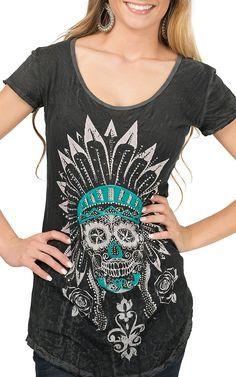 Velvet Stone Women's Charcoal Crinkle Wash with Rhinestone Indian Skull Short Sleeve Tee   Cavender's