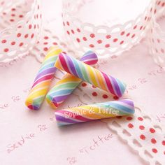 Whimsical Candy Cane Deco Toppings Fake Faux Sweets Decoden Kawaii Cabochon Set of 8pcs on Etsy, $4.34