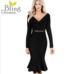 Spring Autumn Fashion Deep V Neckline Fold Sheath Women Casual Work Dress Long Sleeve Solid Zipper Back Elegant Mermaid Dress