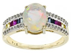 1.10ct Ethiopian Opal, .27ctw Pink, Blue And Yelow Sapphire And .19ctw