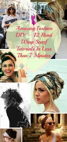 12 Head Wrap Scarf Tutorials In Less Than 7 Minutes   I luv wrapping a beautiful scarf around my head on those days when I dont feel like having my hair out. LoL A wrap can make your look totally unique.