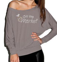 "Rhinestone ""Off the Market"" Off Shoulder Bride Shirt"