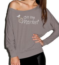 "Rhinestone ""Off the Market"" Off Shoulder Bride Shirt"
