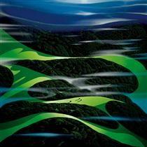 Green Fields - Screen print by Eyvind Earle® Big Sur, Fantasy Landscape, Landscape Art, New York City, Eyvind Earle, Illustrator, John Howe, Disney Artists, Magic Realism