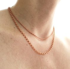 Small Adjustable Copper Necklace Chain, 3mm 4mm  Ladder Chain Solid Copper Chain Petite Custom Length Artisan Clasp, Pure Copper Cable Chain Copper Necklace, Strand Necklace, Stainless Steel Wire, Pure Copper, Brass Chain, Solid Brass, Artisan, Pure Products, Link