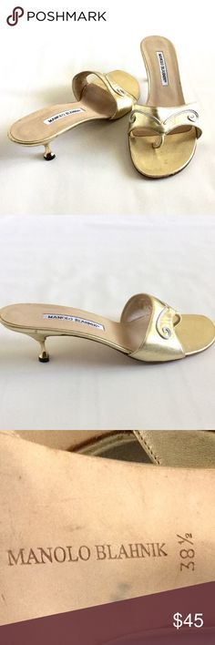 """Manolo Blahnik Kitten Hill Sandals Measures about 10"""" from heel to toe and 3 1/2"""" at the widest part.  2 1/4"""" heel height.  Gold metallic leather.  In good used used condition with a lot of life left.  Light wear on upper and lower soles and small chip on one heel cap.  No trades. Manolo Blahnik Shoes Sandals"""