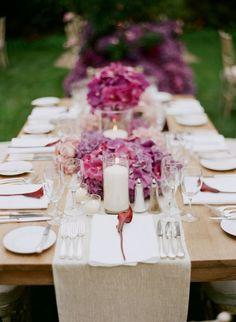 purple centerpiece ideas, purple cymbidiums, blush pink roses, purple hydrangea, outdoor wedding, candle centerpieeces, elizabeth messina, mindy weiss