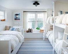 To decorate a beachfront home in Amagansett, interior designer Brad Ford simply looked to the ocean for inspiration. To decorate a beachfront home in Amagansett, interior designer Brad Ford simply looked to the ocean for inspiration. Modern Lake House, Bunk Rooms, Coastal Bedrooms, White Bedrooms, Lake House Bedrooms, Shared Bedrooms, Beach Bedrooms, Nautical Bedroom, Cottage Bedrooms