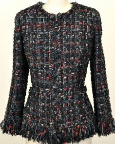 Rare Chanel 10a Classic Tweed Fringed Jacket New 40 Beautiful
