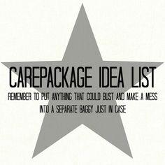 Ballistic Gypsy: Carepackage Idea List