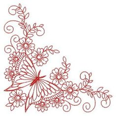 Redwork Butterfly Corner embroidery design