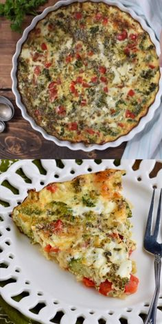 This Crustless Vegetable Quiche is only 120 calories a slice and packed with flavor! This Crustless Vegetable Quiche is only 120 calories a slice and packed with flavor! Best Vegetable Recipes, Vegetarian Recipes, Cooking Recipes, Healthy Recipes, Vegetable Lasagna Recipes, Healthy Drinks, Kiesh Recipes, Pizza Recipes, Bread Recipes