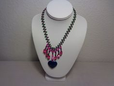 Multi color Beads Heart Shaped Pendant Necklace