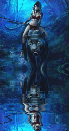 Fantastique - Femme et la Panthère noire géante