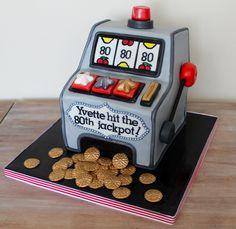 Slot machine sculpted cake, casino, gambling birthday