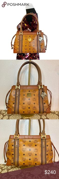 f21f1ea728da MCM Authentic Brown Cognac Shoulder Bag Has three pockets inside. Preloved  MCM Shoulder Bag has