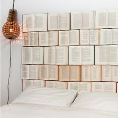 Headboard made out of old books