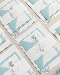 Bespoke watercolour wedding invitations with spring flower theme. Monogram belly band and pastel blue envelopes Bespoke Wedding Invitations, Spring Wedding Invitations, Wedding Stationery, Pastel Blue, Pastel Colors, Blue Envelopes, Blue Springs, Watercolor Wedding Invitations, Spring Flowers