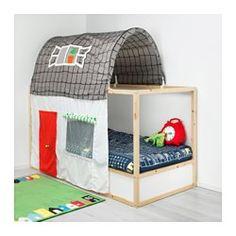 KURA Bed tent with curtain, gray, white - - - IKEA