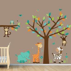 Wild About Teal Jungle Tree Wall Decals, Jungle Stickers Bebe Bottle Sling, LLC,http://www.amazon.com/dp/B00BOVNBPK/ref=cm_sw_r_pi_dp_aQtFsb0NRBF7EPD1