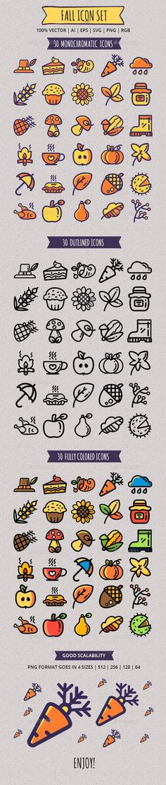 Seasonal Fall Icon Set — Vector EPS #cupcake #turkey • Available here ➝ https://graphicriver.net/item/seasonal-fall-icon-set/20906648?ref=pxcr