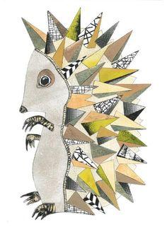 Pindsvin 2 # Guld Collage A3. En Original collage af kunstneren Monika Petersen. Collagen er ikke indrammet.