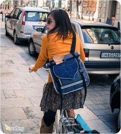 Grey  Dark Blue Rolltop Bike Messenger bag  Roll by LeaflingoOo, $53.00