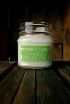 Purrfect Pear Soy Candle /  8 oz. Glass Mason Jar by RescueCandle, $12.99