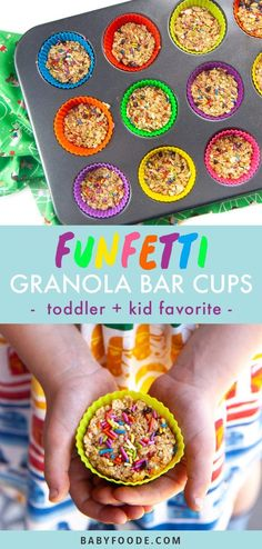 Toddlers and kids will love these Funfetti Granola Bars! Made with simple ingredients in one-bowl in less than 10 minutes - these granola bars will be loved by the entire family. Healthy Granola Bars, Healthy Protein Snacks, Healthy Snacks For Kids, Healthy Shakes, Healthy Breakfasts, High Protein, Eating Healthy, Healthy Living, Healthy Store Bought Snacks