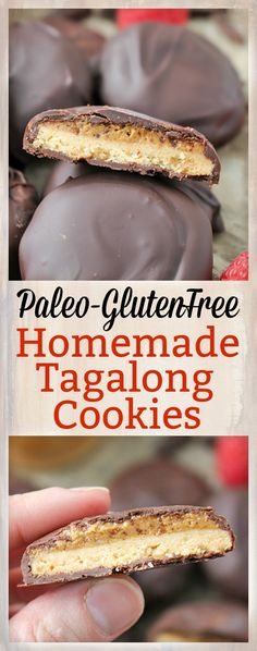 These Paleo Homemade Tagalong Cookies are easy to make and so delicious! A crunchy shortbread cookie topped with creamy cashew butter and then sipped in chocolate. A healthy version of the Girl Scout cookie that is gluten free dairy free and vegan. Paleo Dessert, Paleo Sweets, Gluten Free Desserts, Dairy Free Recipes, Real Food Recipes, Gluten Free Recipes, Dessert Recipes, Cooking Recipes, Keto Recipes