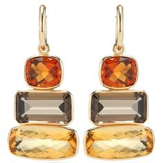 These would go with so many of my clothes.  Allia Ice Cube earrings... smokey quartz and citrine