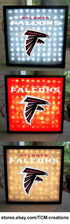 NFL National Football League Atlanta Falcons shadow boxes with LED lighting & multiple colored vinyl decals