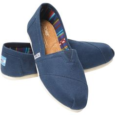 TOMS Original Classic Canvas Plimsolls , Navy ($45) ❤ liked on Polyvore featuring shoes, sneakers, flats, navy flats, navy flat shoes, flat shoes, navy sneakers and navy blue sneakers