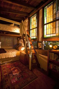 a glowy bunk room with a proper stairs for the top bed