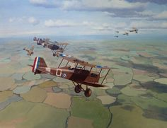 SE5a's of 56 Squadron Major James McCudden VC, and other members of 56 Squadron provide top cover for an attack on a German airfield by Sopwith Camels and DH4s.