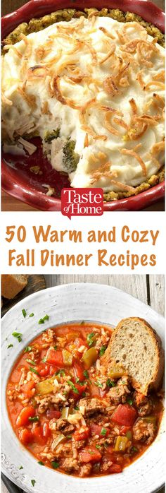 50 Warm and Cozy Fall Dinner Recipes. 50 Warm and Cozy Fall Dinner Recipes. Perfect for chilly autumn nights, these fall dinner ideas are the ultimate in soul-warming comfort food. Fall Dinner Recipes, Autumn Food Recipes, Winter Dinner Ideas, Fall Meals, Baked Dinner Recipes, Cooking Recipes, Healthy Recipes, Fall Crockpot Recipes, Delicious Recipes
