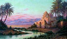 Peinture d'Algérie - Peintre orientaliste, Henri Richevillain (1800- 1900), Huile sur toile, Titre : Marabout au couché du Soleil.