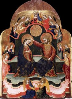Coronation of the Virgin  1381  Panel, 72 x 52 cm  Gallerie dell'Accademia, Venice.STEFANO DI SANT'AGNESE  Italian painter, Venetian school (active second half of 14th century)