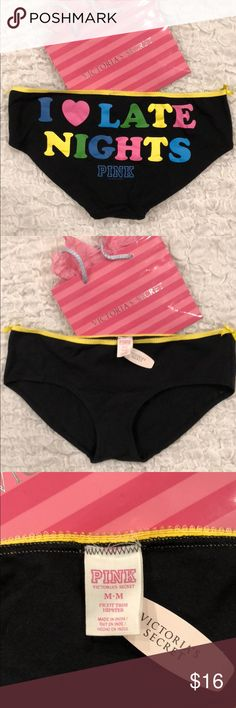 NWT VS Pink Late Nights Hipster Panty Hiphugger M New with Tags! Check out my other Victoria's Secret PINK listings for a bundle deal :) PINK Victoria's Secret Intimates & Sleepwear Panties