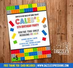 Printable Building Block/Brick Birthday Invitation - Inspired by Legos - FREE Thank You Card - Banner - Cupcake Toppers - Food Labels - Water Bottle Labels - Favor Tags Lego Birthday Invitations, Lego Birthday Party, Boy Birthday Parties, Birthday Cakes, 5th Birthday, Birthday Ideas, Printable Thank You Cards, Free Thank You Cards, Printable Invitations