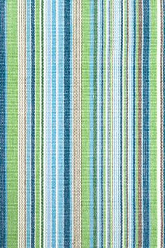 Blues and greens Fisher Ticking Woven Cotton Rug | Dash & Albert Rug Company